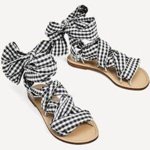 Zara Womens Black White Plaid Wrap Around sandals